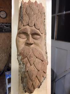 Green Man in Cottonwood Bark