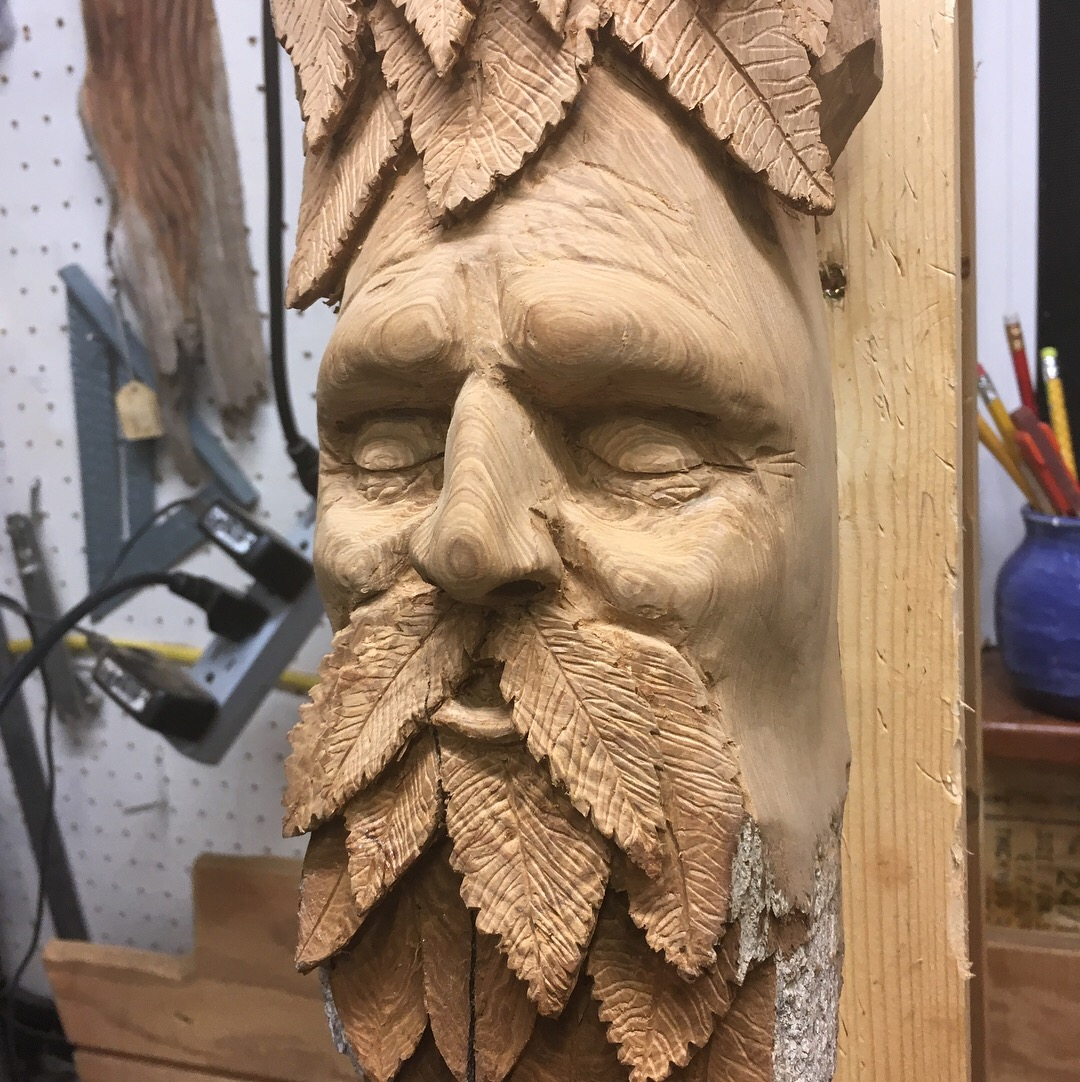 Green man u woodcarving and wood sculpting